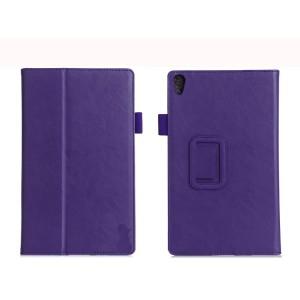 Чехол книжка подставка текстура Узоры с рамочной защитой экрана, крепежом для стилуса, отсеком для карт и поддержкой кисти для Lenovo Tab 3 8 Plus Фиолетовый