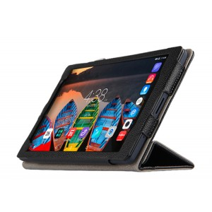Кожаный сегментарный чехол книжка подставка (премиум нат. кожа) для Lenovo Tab 3 8 Plus