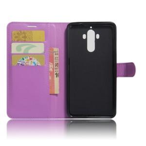 Чехол портмоне подставка на силиконовой основе с отсеком для карт на магнитной защелке для Huawei Mate 9  Фиолетовый