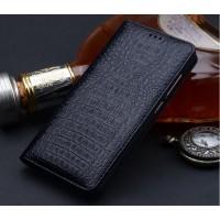 Кожаный чехол горизонтальная книжка (премиум нат. кожа крокодила) для Huawei Mate 9  Черный
