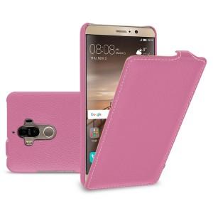 Кожаный чехол вертикальная книжка (премиум нат. кожа) для Huawei Mate 9  Розовый