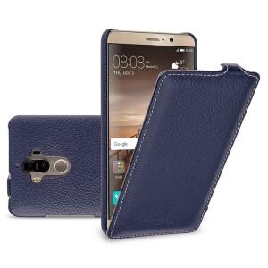 Кожаный чехол вертикальная книжка (премиум нат. кожа) для Huawei Mate 9  Синий