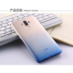 Силиконовый матовый полупрозрачный градиентный чехол для Huawei Mate 9  Синий