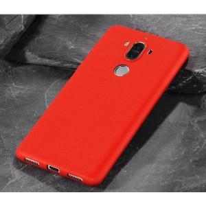 Силиконовый матовый непрозрачный чехол с нескользящим софт-тач покрытием для Huawei Mate 9  Красный