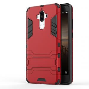 Противоударный двухкомпонентный силиконовый матовый непрозрачный чехол с поликарбонатными вставками экстрим защиты с встроенной ножкой-подставкой для Huawei Mate 9  Красный