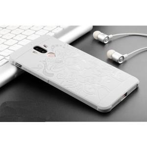Силиконовый матовый непрозрачный чехол с текстурным покрытием Дракон для Huawei Mate 9 Белый