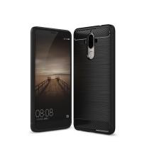Двухкомпонентный силиконовый матовый непрозрачный чехол с поликарбонатным бампером и текстурным покрытием Металлик для Huawei Mate 9  Черный