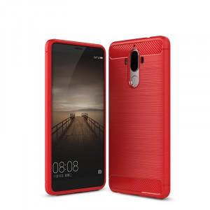 Двухкомпонентный силиконовый матовый непрозрачный чехол с поликарбонатным бампером и текстурным покрытием Металлик для Huawei Mate 9  Красный