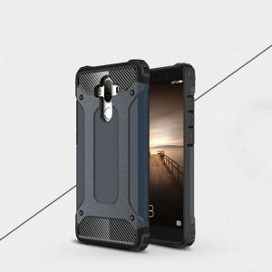 Противоударный двухкомпонентный силиконовый матовый непрозрачный чехол с поликарбонатными вставками экстрим защиты для Huawei Mate 9 Синий