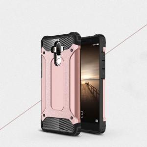Противоударный двухкомпонентный силиконовый матовый непрозрачный чехол с поликарбонатными вставками экстрим защиты для Huawei Mate 9 Розовый