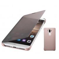 Оригинальный чехол флип с активным полноэкранным полупрозрачным окном вызова для Huawei Mate 9 Розовый
