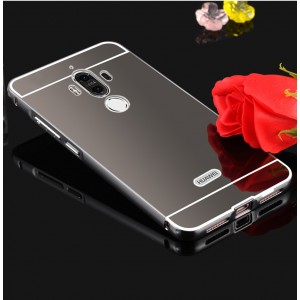 Двухкомпонентный чехол c металлическим бампером с поликарбонатной накладкой и зеркальным покрытием для Huawei Mate 9 Черный