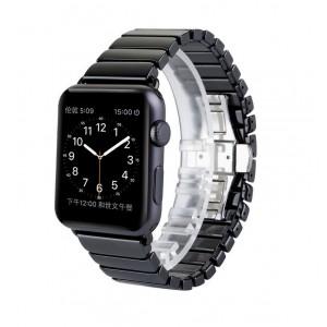 Керамический браслет с металлической пряжкой и металлическим коннектором для Apple Watch 38mm