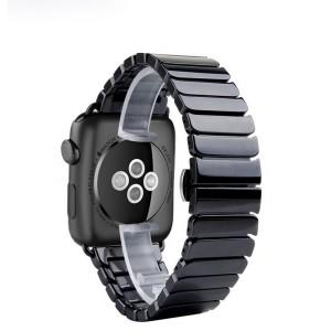 Керамический браслет с металлической пряжкой и металлическим коннектором для Apple Watch 42мм Черный