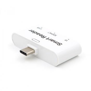 Универсальный переходник OTG/кардридер type C для подключения внешней памяти USB 2.0/SD
