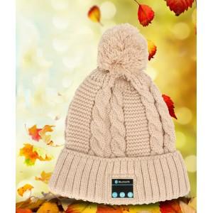 Шерстяная шапка дизайн Помпон с наушниками, микрофоном и функцией беспроводной bluetooth 3.0 стерео гарнитуры Бежевый