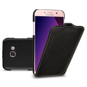 Кожаный чехол вертикальная книжка (премиум нат. кожа) для Samsung Galaxy A5 (2017) Черный