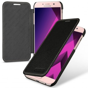 Кожаный чехол горизонтальная книжка (премиум нат. кожа) для Samsung Galaxy A5 (2017)  Черный