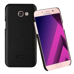 Кожаный чехол накладка (премиум нат. кожа) для Samsung Galaxy A5 (2017) Черный