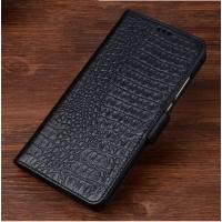 Кожаный чехол портмоне подставка (премиум нат. кожа крокодила) с крепежной застежкой для ASUS Zenfone Go 5.5  Черный