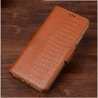 Кожаный чехол портмоне подставка (премиум нат. кожа крокодила) с крепежной застежкой для ASUS Zenfone Go 5.5