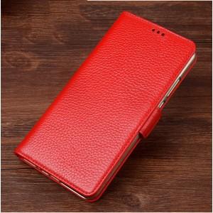 Кожаный чехол портмоне подставка (премиум нат. кожа) с крепежной застежкой для ASUS Zenfone Go 5.5 Красный