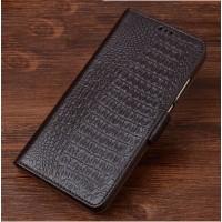 Кожаный чехол портмоне подставка (премиум нат. кожа крокодила) с крепежной застежкой для Asus ZenFone 3 5.2 Коричневый