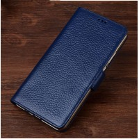 Кожаный чехол портмоне подставка (премиум нат. кожа) с крепежной застежкой для HTC Desire 830 Синий