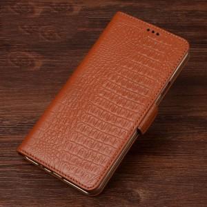 Кожаный чехол портмоне подставка (премиум нат. кожа крокодила) с крепежной застежкой для Samsung Galaxy A3 (2017)
