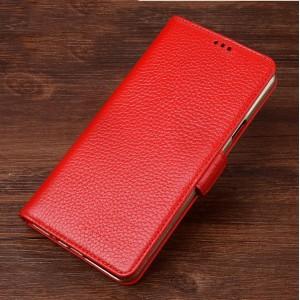Кожаный чехол портмоне подставка (премиум нат. кожа) с крепежной застежкой для Samsung Galaxy A3 (2017)