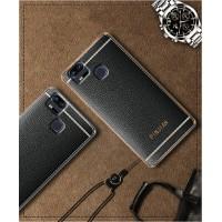 Силиконовый матовый полупрозрачный чехол с текстурным покрытием Кожа для Asus ZenFone 3 Zoom  Черный