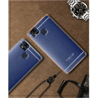 Силиконовый матовый полупрозрачный чехол с текстурным покрытием Кожа для Asus ZenFone 3 Zoom  Синий