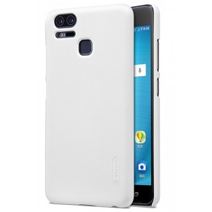 Пластиковый непрозрачный матовый нескользящий премиум чехол с повышенной шероховатостью для Asus ZenFone 3 Zoom Белый