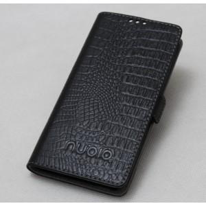 Чехол горизонтальная книжка подставка текстура Крокодил с крепежной застежкой для ZTE Nubia N1  Черный