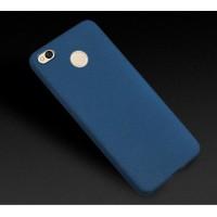 Силиконовый матовый непрозрачный чехол для Xiaomi RedMi 4X  Синий