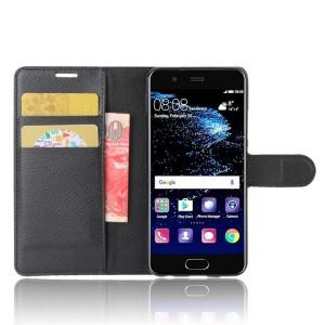 Чехол портмоне подставка на силиконовой основе с отсеком для карт на магнитной защелке для Huawei P10