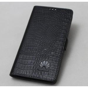 Кожаный чехол горизонтальная книжка подставка текстура Крокодил с крепежной застежкой для Huawei P10