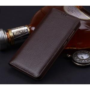 Кожаный чехол горизонтальная книжка (премиум нат. кожа) для Huawei P10