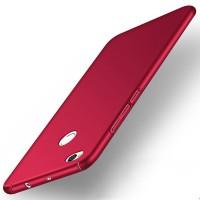 Пластиковый непрозрачный матовый чехол с допзащитой торцев для Xiaomi RedMi 4X  Красный