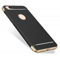 Пластиковый непрозрачный матовый металлик чехол с улучшенной защитой элементов корпуса для Xiaomi RedMi 4X  Черный