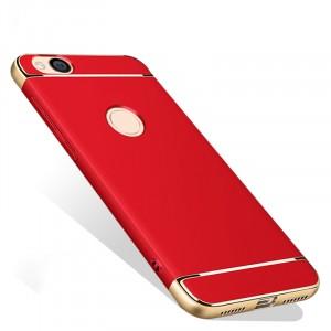 Пластиковый непрозрачный матовый металлик чехол с улучшенной защитой элементов корпуса для Xiaomi RedMi 4X Красный