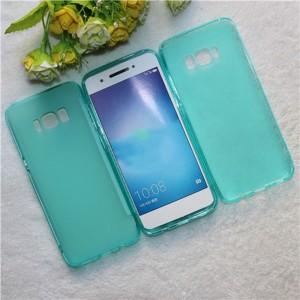 Силиконовый матовый полупрозрачный чехол для Samsung Galaxy S8 Голубой