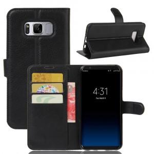 Чехол портмоне подставка на силиконовой основе с отсеком для карт на магнитной защелке для Samsung Galaxy S8