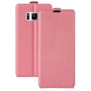 Чехол вертикальная книжка на силиконовой основе с отсеком для карт на магнитной защелке для Samsung Galaxy S8 Розовый