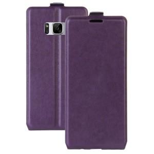 Чехол вертикальная книжка на силиконовой основе с отсеком для карт на магнитной защелке для Samsung Galaxy S8 Фиолетовый