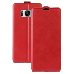 Чехол вертикальная книжка на силиконовой основе с отсеком для карт на магнитной защелке для Samsung Galaxy S8 Красный