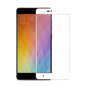 Полноэкранное ультратонкое износоустойчивое сколостойкое олеофобное защитное стекло-пленка для Xiaomi RedMi 4 Белый