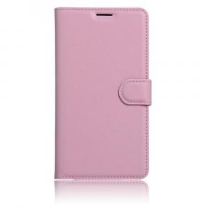 Чехол портмоне подставка на силиконовой основе с отсеком для карт на магнитной защелке для BQ Aquaris X5  Розовый