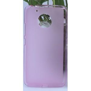 Силиконовый матовый полупрозрачный чехол для Lenovo Moto G5 Розовый