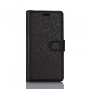 Чехол портмоне подставка на силиконовой основе с отсеком для карт на магнитной защелке для Lenovo Phab 2 Plus  Черный
